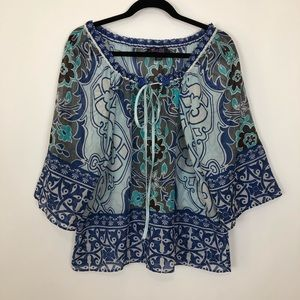 Hale Bob tunic top sheer blouse cinched waist med